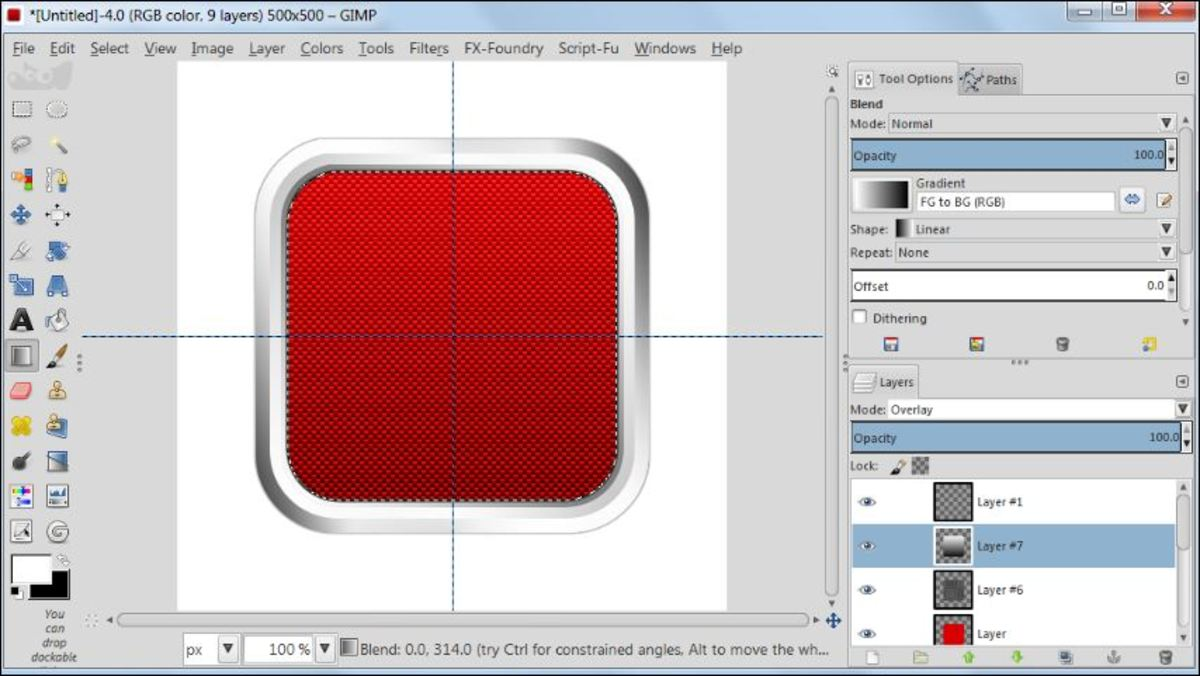 Fig. 17 Making a square glossy button with carbon fiber pattern in GIMP 2.8