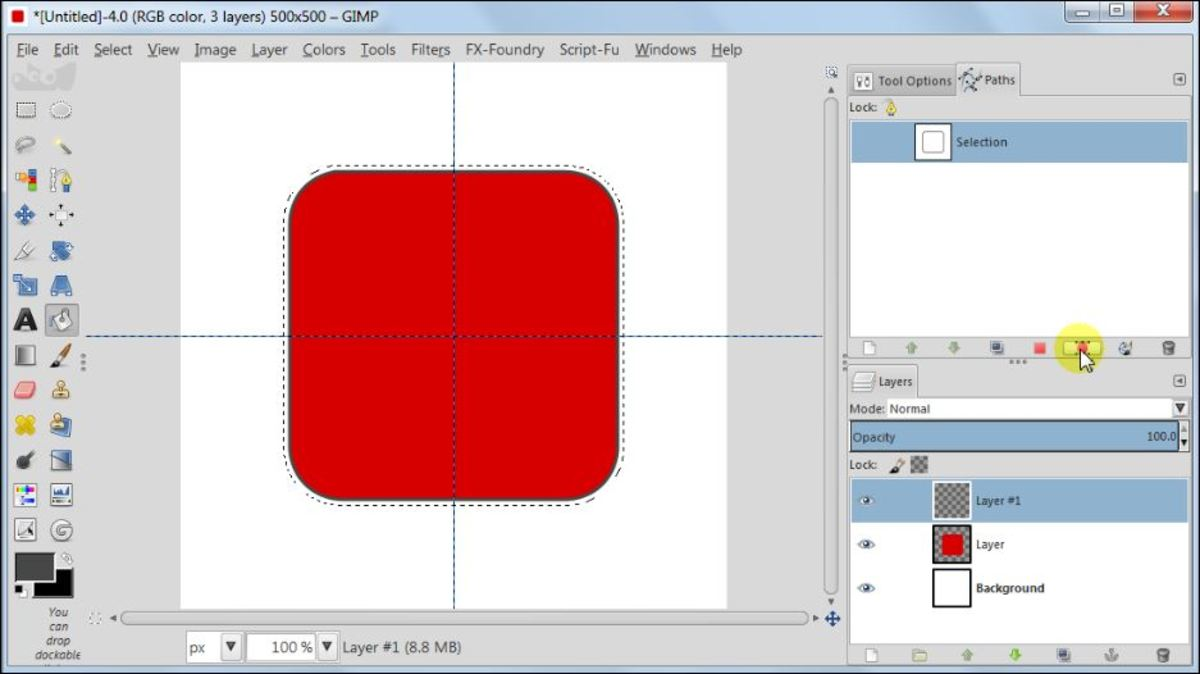 Fig. 6  Making a square glossy button with carbon fiber pattern in GIMP 2.8