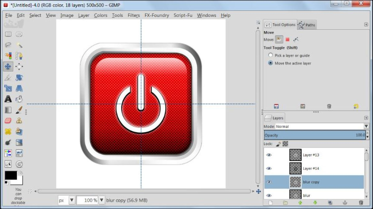 Fig. 26 Making a square glossy button with carbon fiber pattern in GIMP 2.8