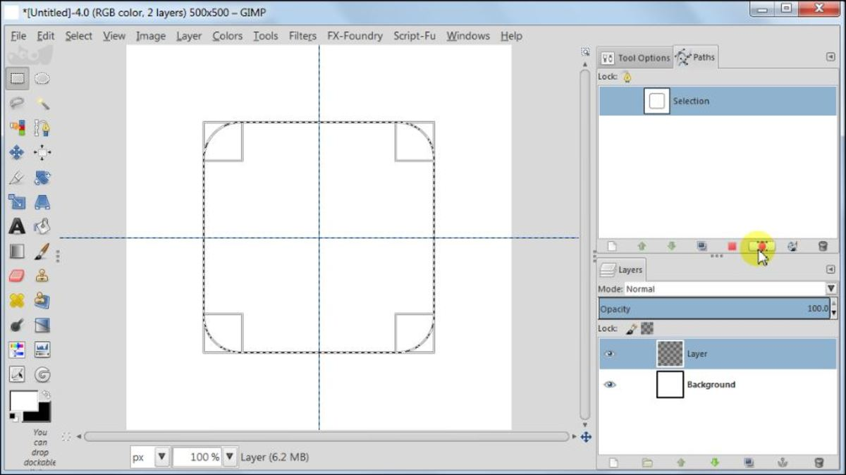 Fig. 3  Making a square glossy button with carbon fiber pattern in GIMP 2.8