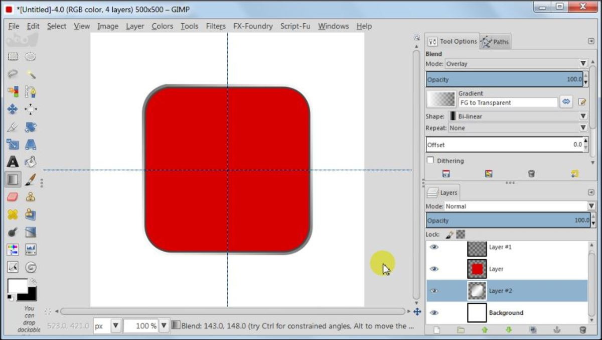 Fig. 9  Making a square glossy button with carbon fiber pattern in GIMP 2.8