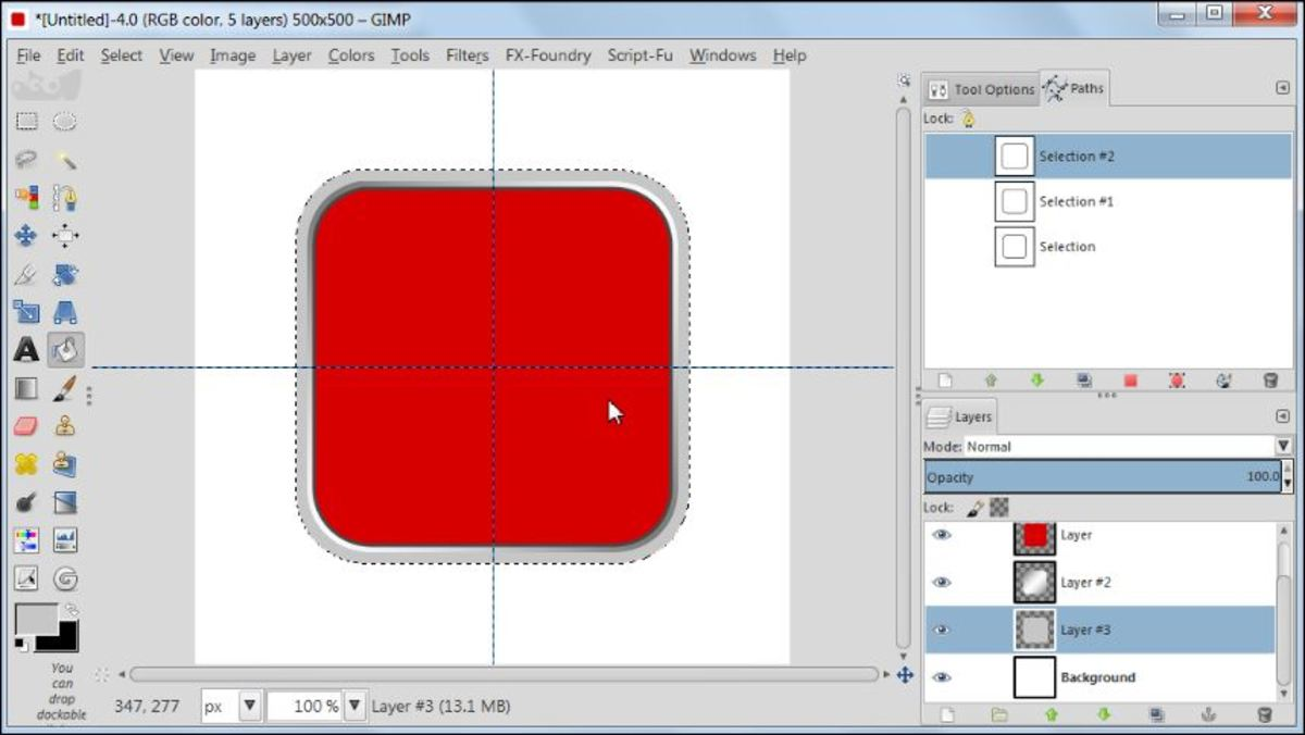 Fig. 11 Making a square glossy button with carbon fiber pattern in GIMP 2.8