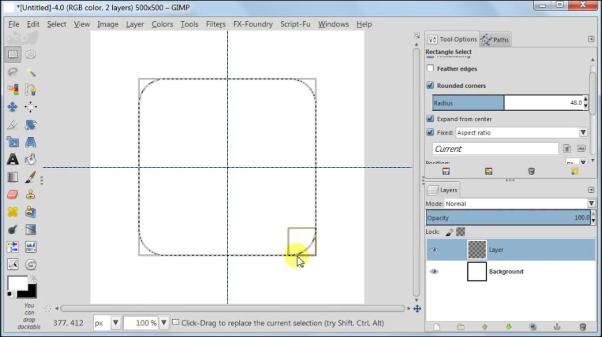 Fig. 2  Making a square glossy button with carbon fiber pattern in GIMP 2.8