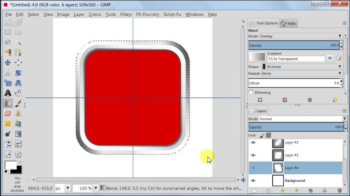 Fig. 15 Making a square glossy button with carbon fiber pattern in GIMP 2.8