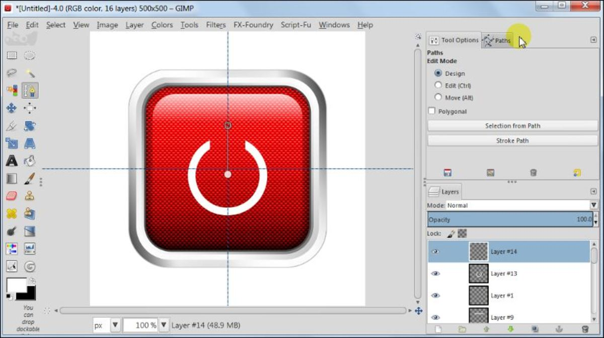Fig. 24 Making a square glossy button with carbon fiber pattern in GIMP 2.8