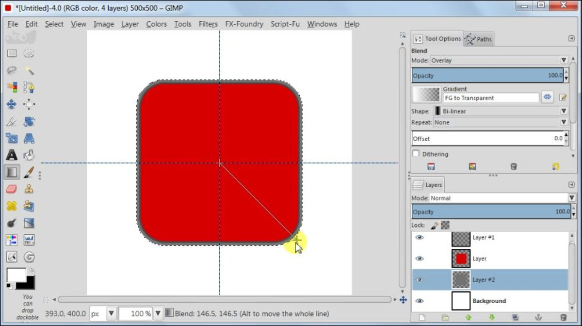 Fig. 8  Making a square glossy button with carbon fiber pattern in GIMP 2.8