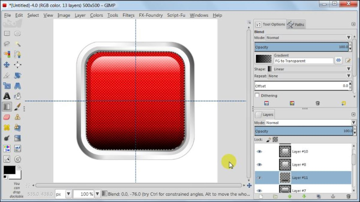 Fig. 20 Making a square glossy button with carbon fiber pattern in GIMP 2.8