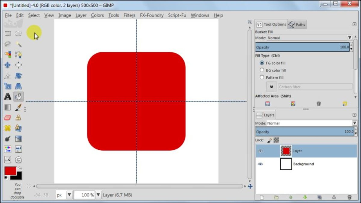 Fig. 4  Making a square glossy button with carbon fiber pattern in GIMP 2.8
