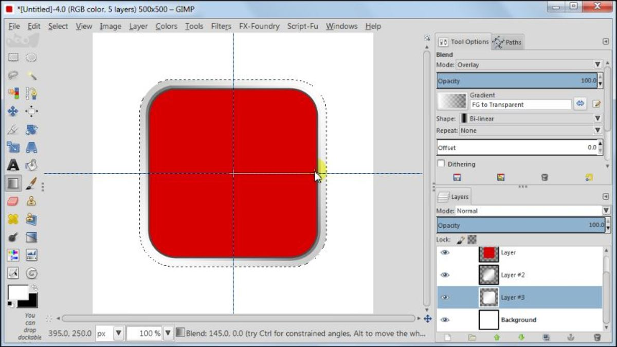 Fig. 12 Making a square glossy button with carbon fiber pattern in GIMP 2.8