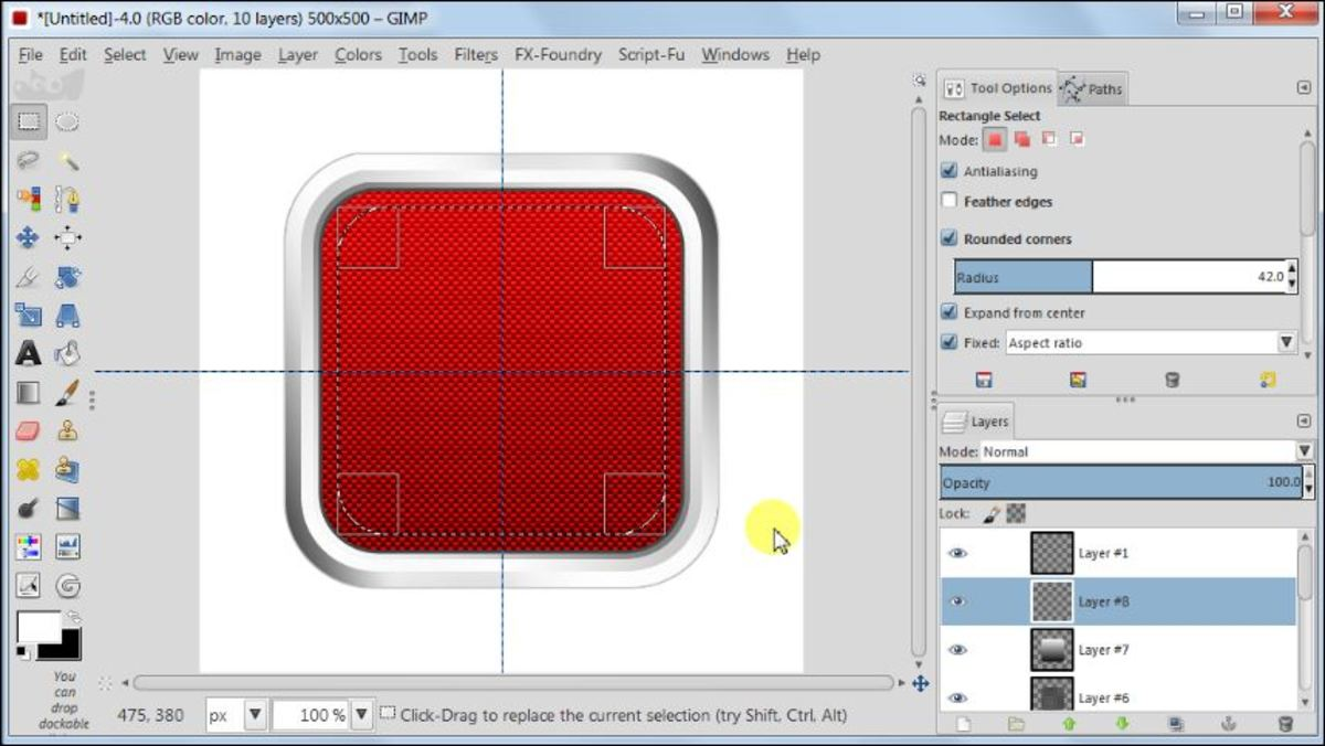 Fig. 18 Making a square glossy button with carbon fiber pattern in GIMP 2.8