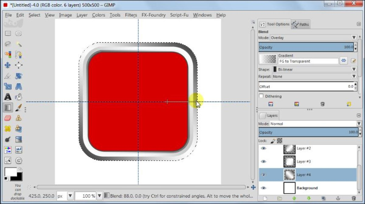 Fig. 14 Making a square glossy button with carbon fiber pattern in GIMP 2.8