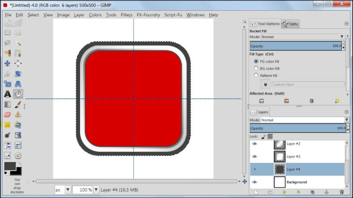 Fig. 13 Making a square glossy button with carbon fiber pattern in GIMP 2.8