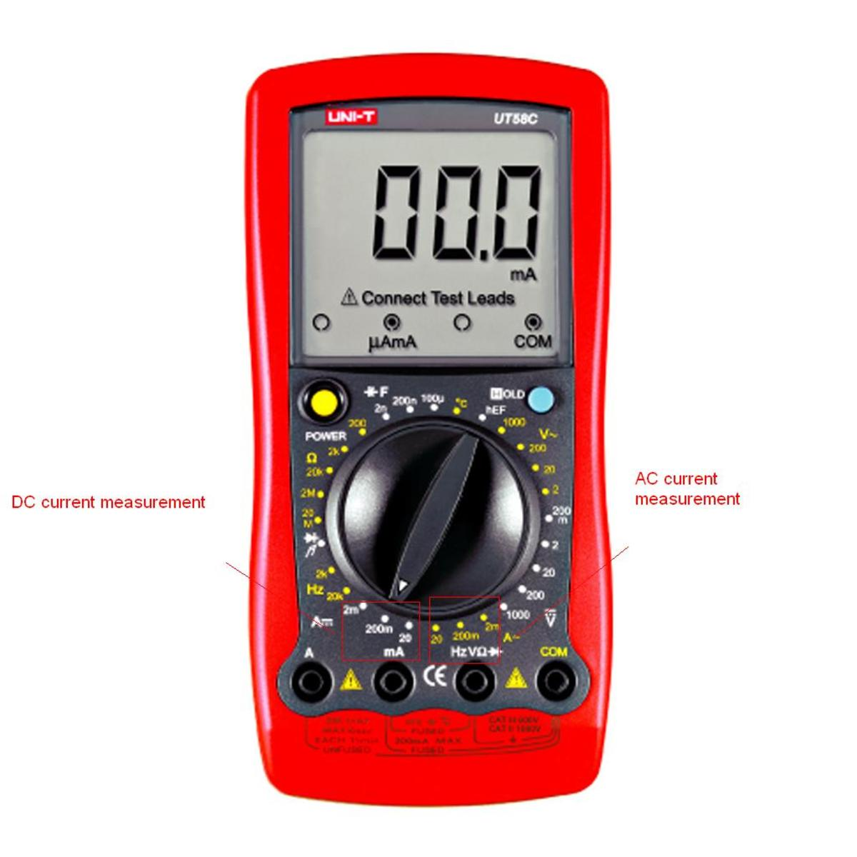 A UT58C digital multimeter - the DC current values are located at the left, and the AC current values at the right.