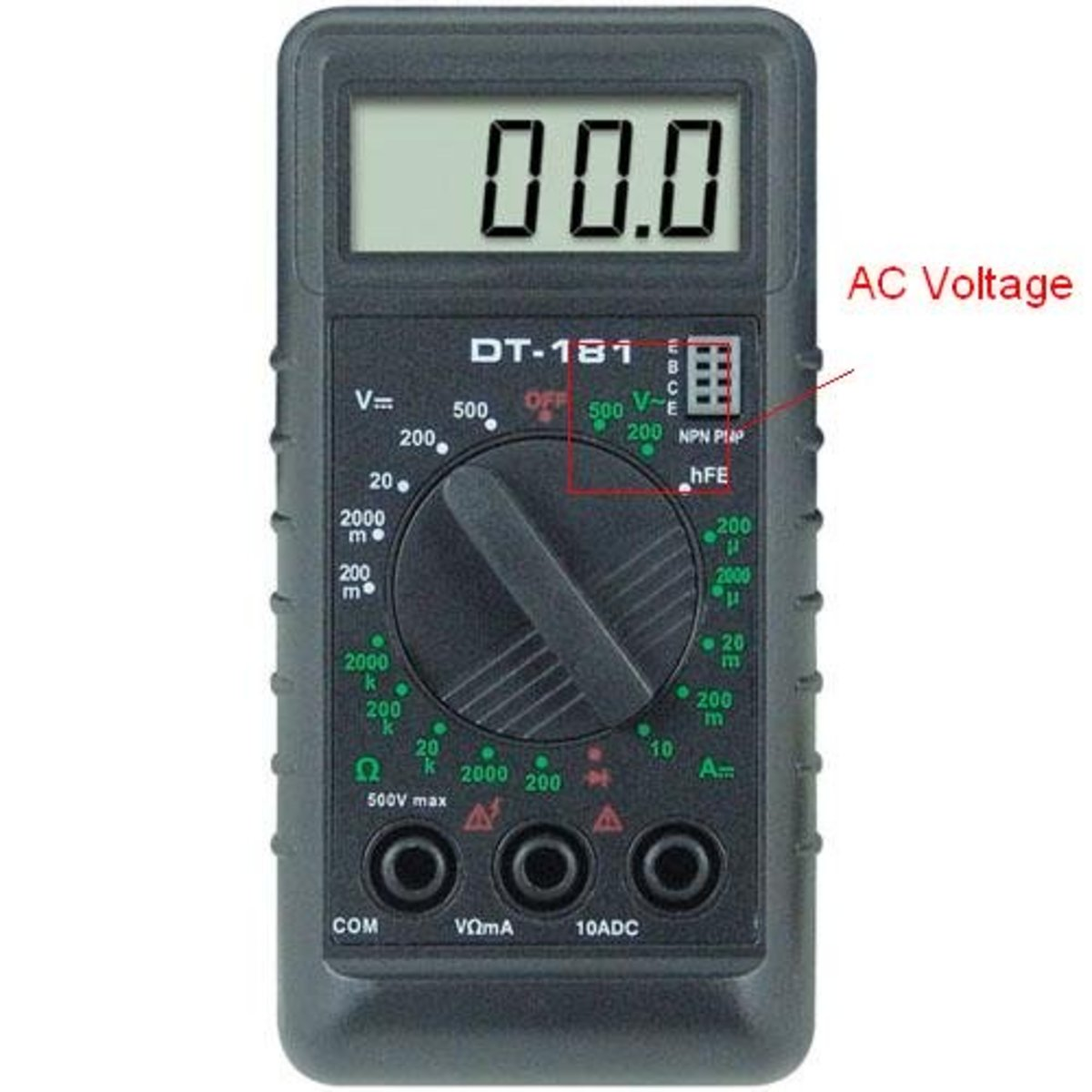 The two possible values to be selected during AC voltage measurement.