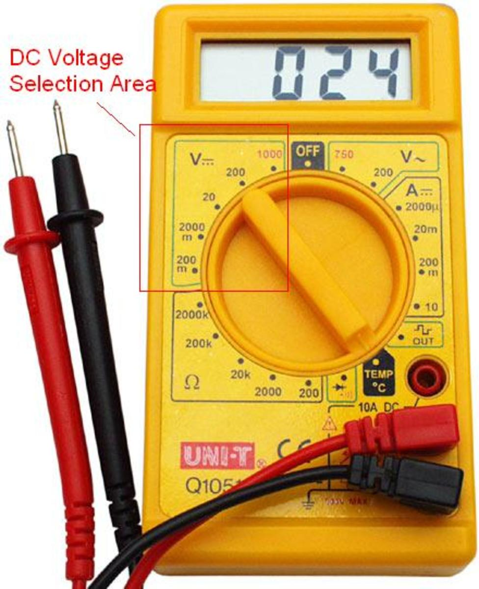 Value selector area of a DC Voltage measurement