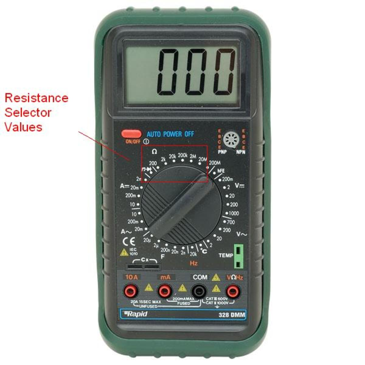 The rotating knob positions for measuring resistance. This particular multimeter unit also includes a frequency meter near the bottom of the selector, with an F sign.