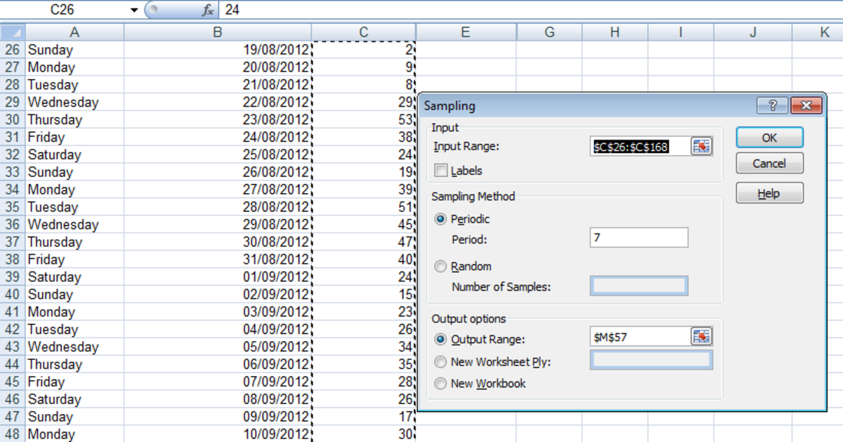 Creating a sample of data for each Saturday in the week in Excel 2007 and Excel 2010.