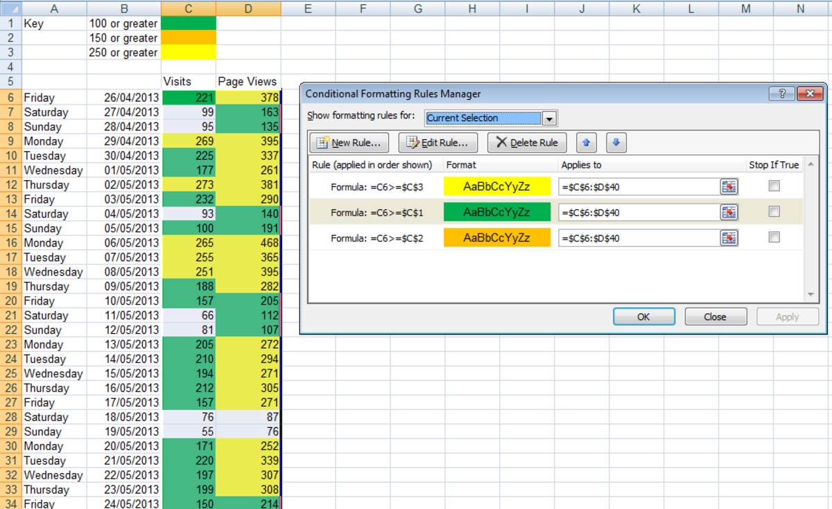 Ensure that your conditional formatting rules are ordered correctly otherwise Excel 2007 or Excel 2010 may display inconsistent results.