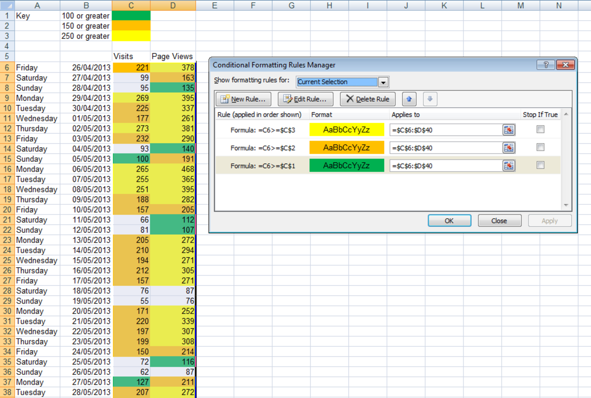 The Conditional Formatting rules ordered correctly, shown using Excel 2007 or Excel 2010.