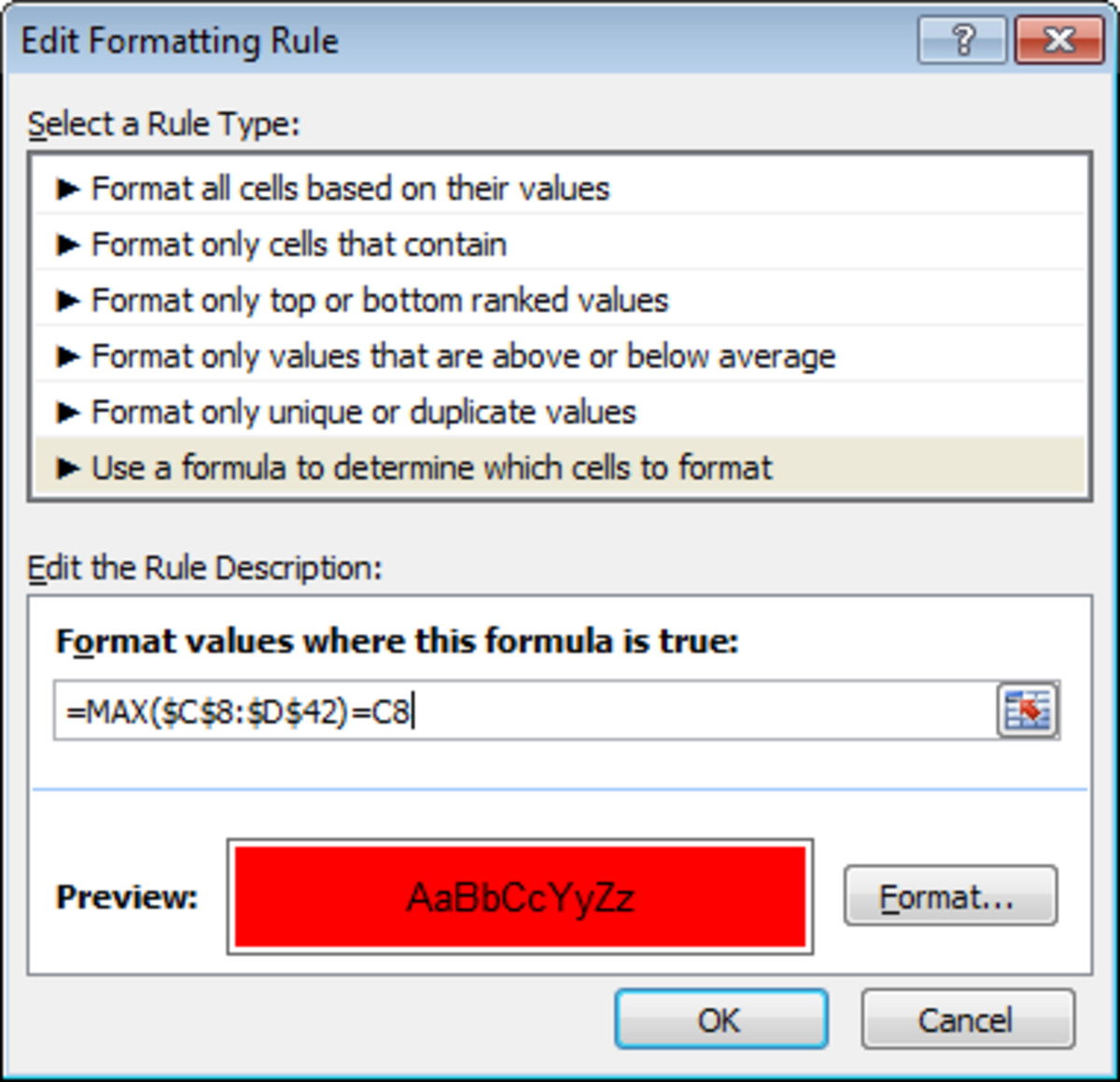How to use the MAX function in a formula to create a conditional formatting rule in Excel 2007 or Excel 2010.