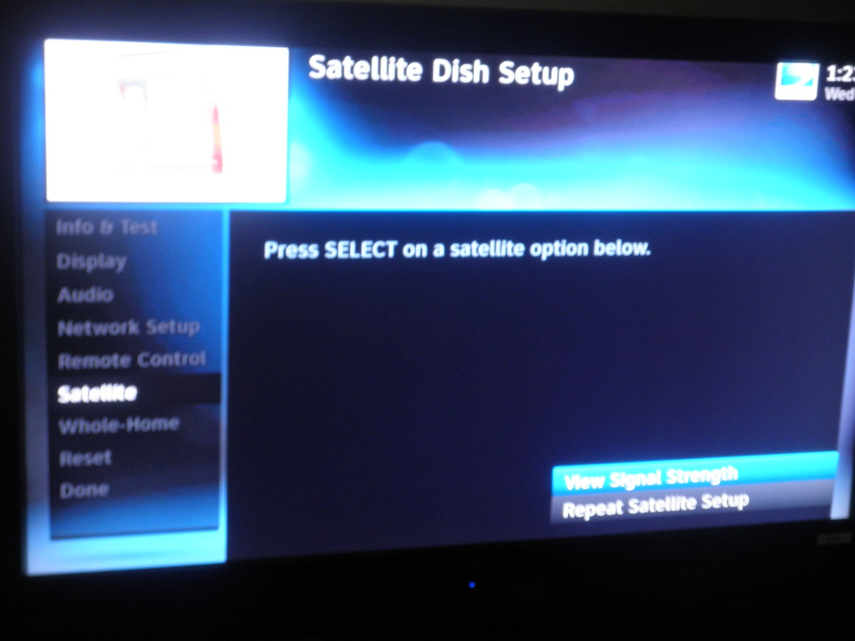Satellite Dish Setup menu