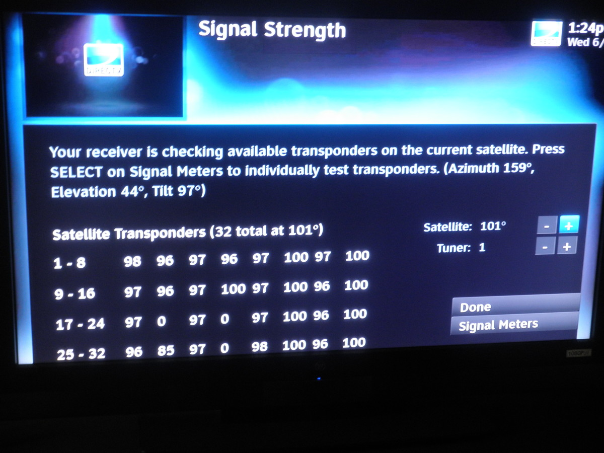Signal Strength screen