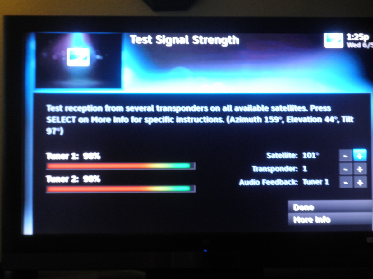 Test Signal Strength screen