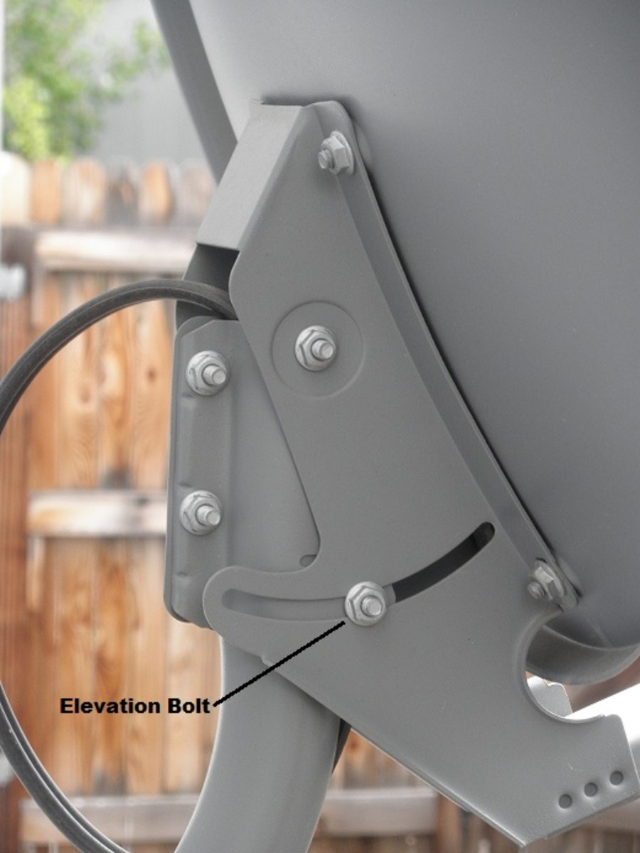 The elevation bolts are on either side of the back of your satellite dish.