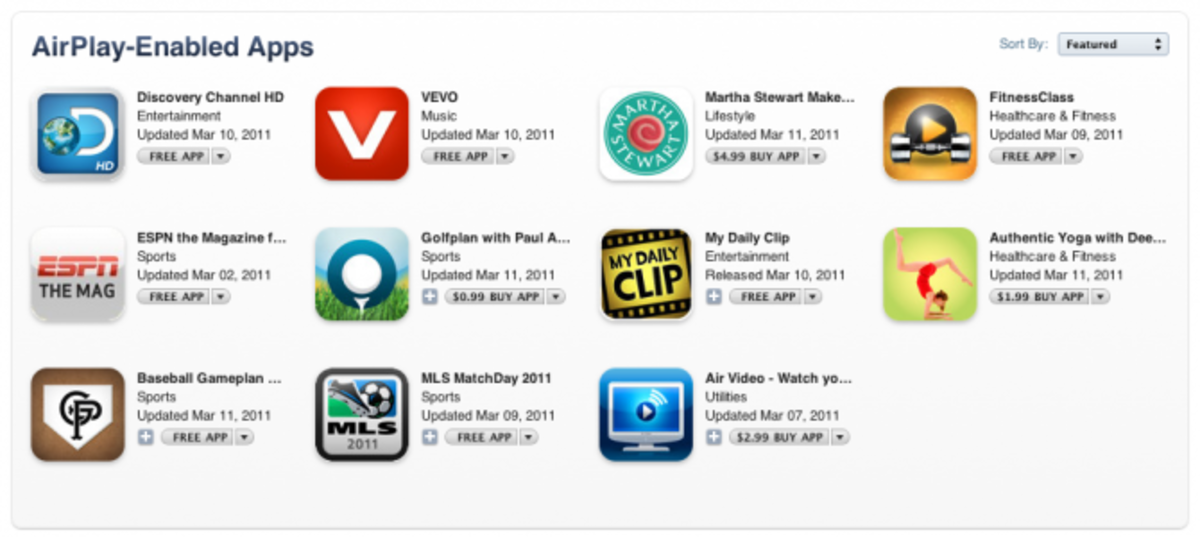 Airplay-enabled apps in the App store