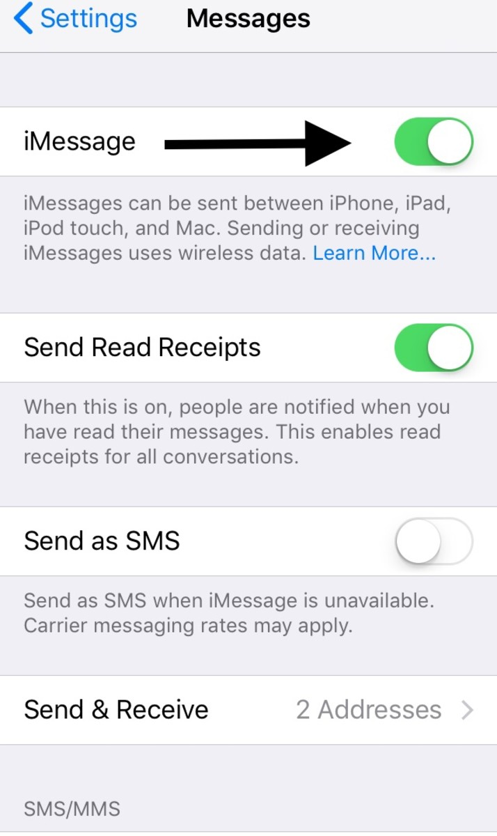 You will need to swipe the button to the right to turn on iMessage functionality.