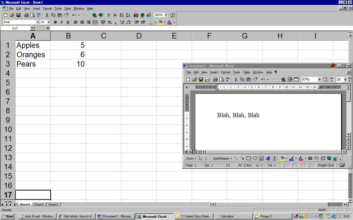 Copying text from a Word document to Excel