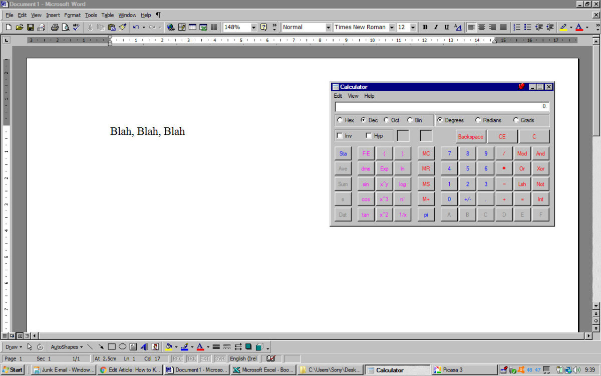 Using the calculator when working on a Word document