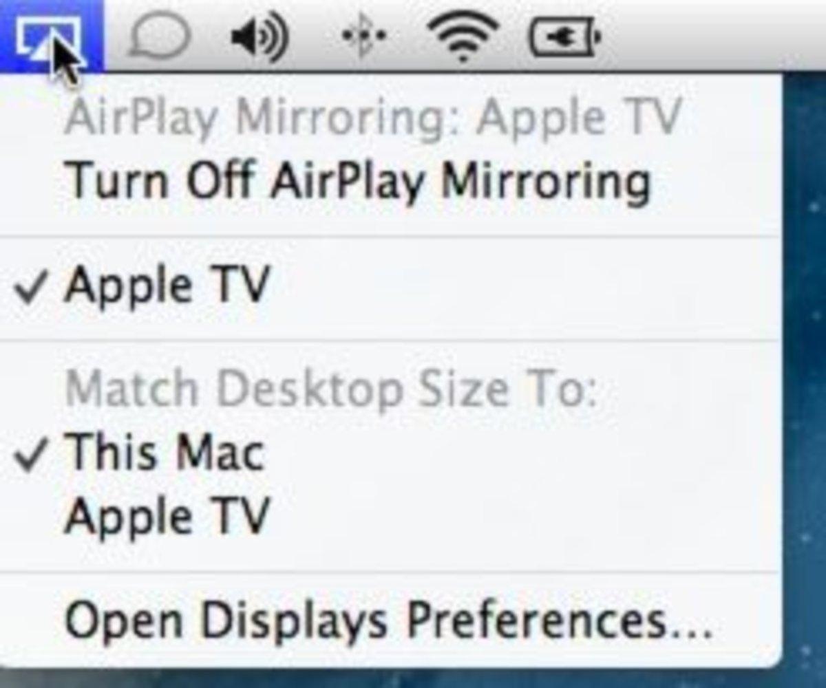 AirPlay on a Mac: menu bar icon