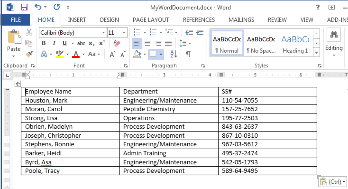 The finished table in Word