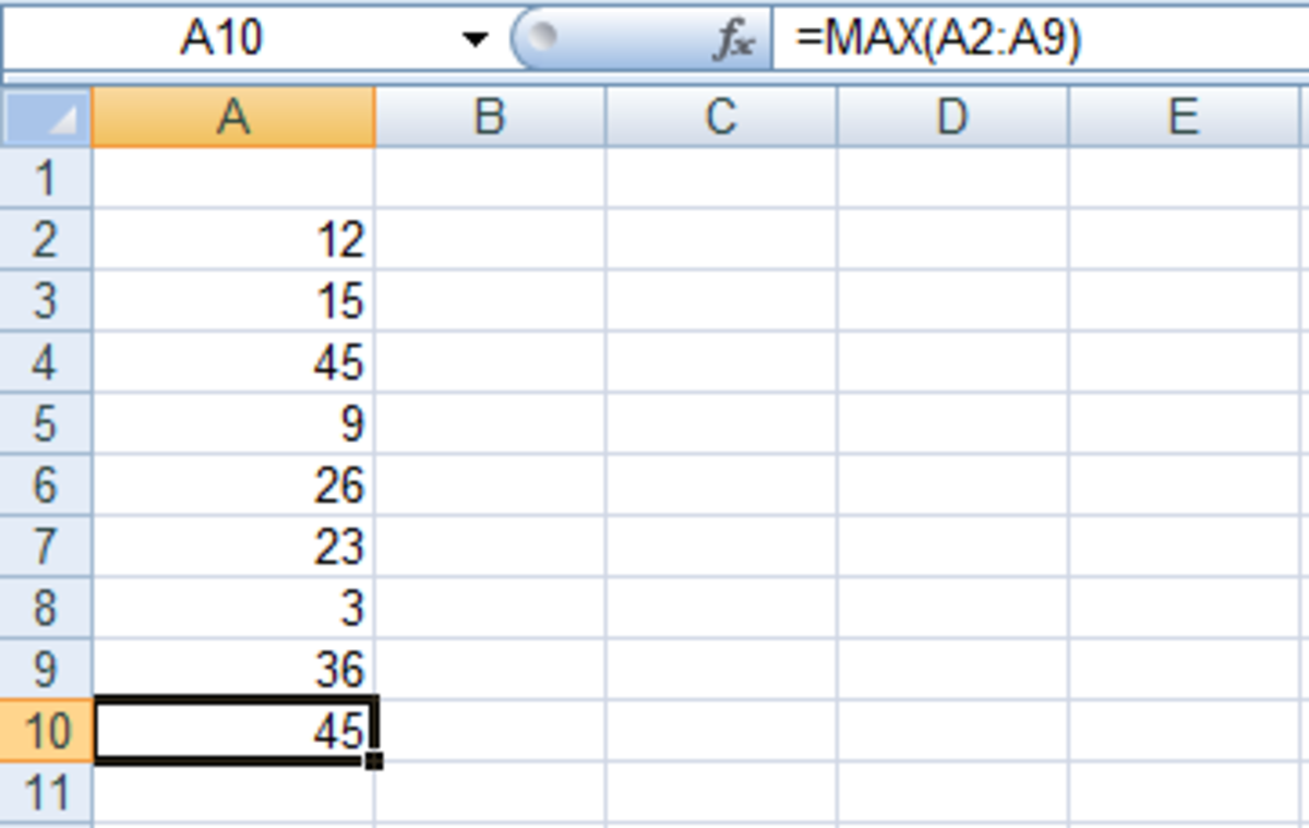 Formula created using the Insert Function tool in Excel 2007 or Excel 2010.