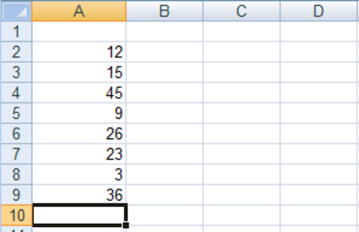 Source data from which we will use a the Insert Function tool to find a function to tell us which cell contains the highest number in Excel 2007 or Excel 2010.