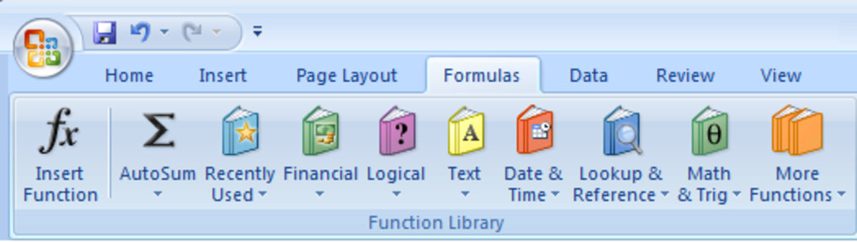 How to create a formula in Excel using the Function Library in Excel 2007 and Excel 2010