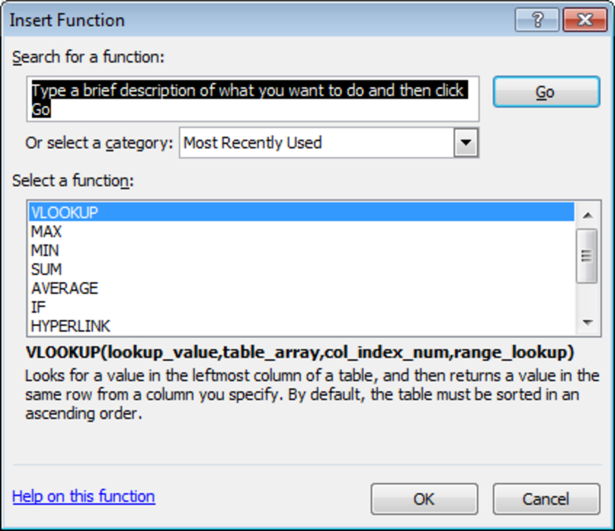 Using the Insert Function tool's search capability to find the best function for our formula in Excel 2007 or Excel 2010.