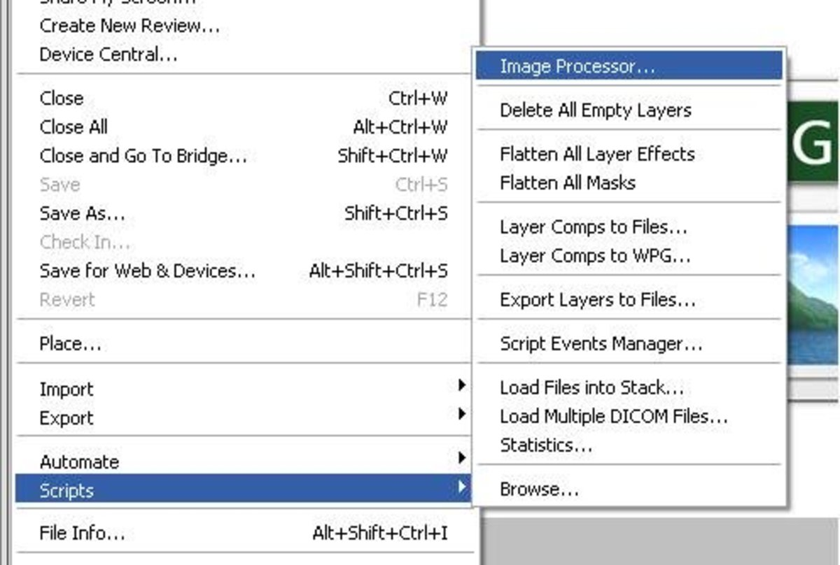 Select 'Scripts' and then 'Image Processor' from the File drop down menu.