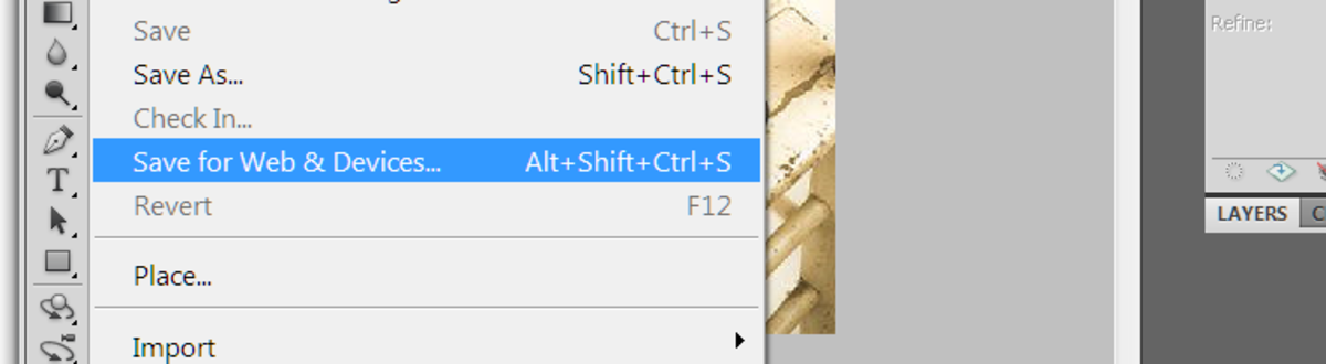 Select 'Save for Web & Devices' in file drop down menu.
