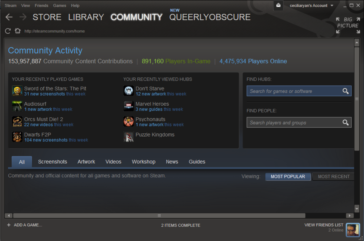 The Steam community page.