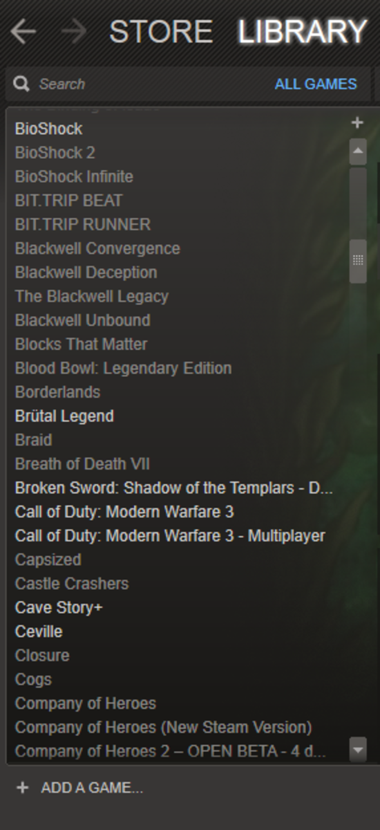 The games list section of the Steam library.