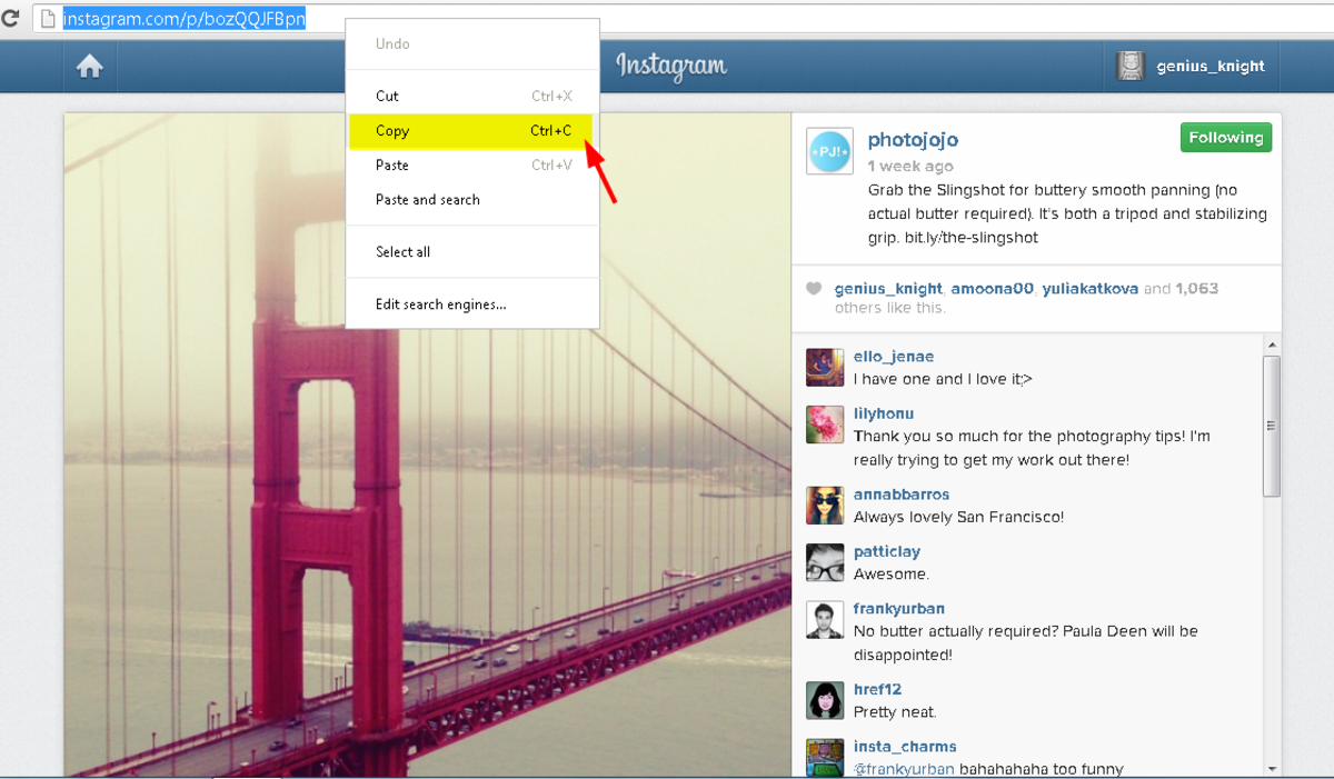 Copy the Instagram video Url
