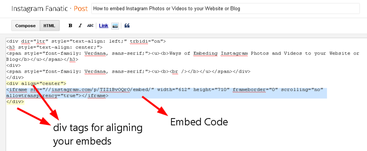 Aligning and pasting the Instagram generated code in to your Blog