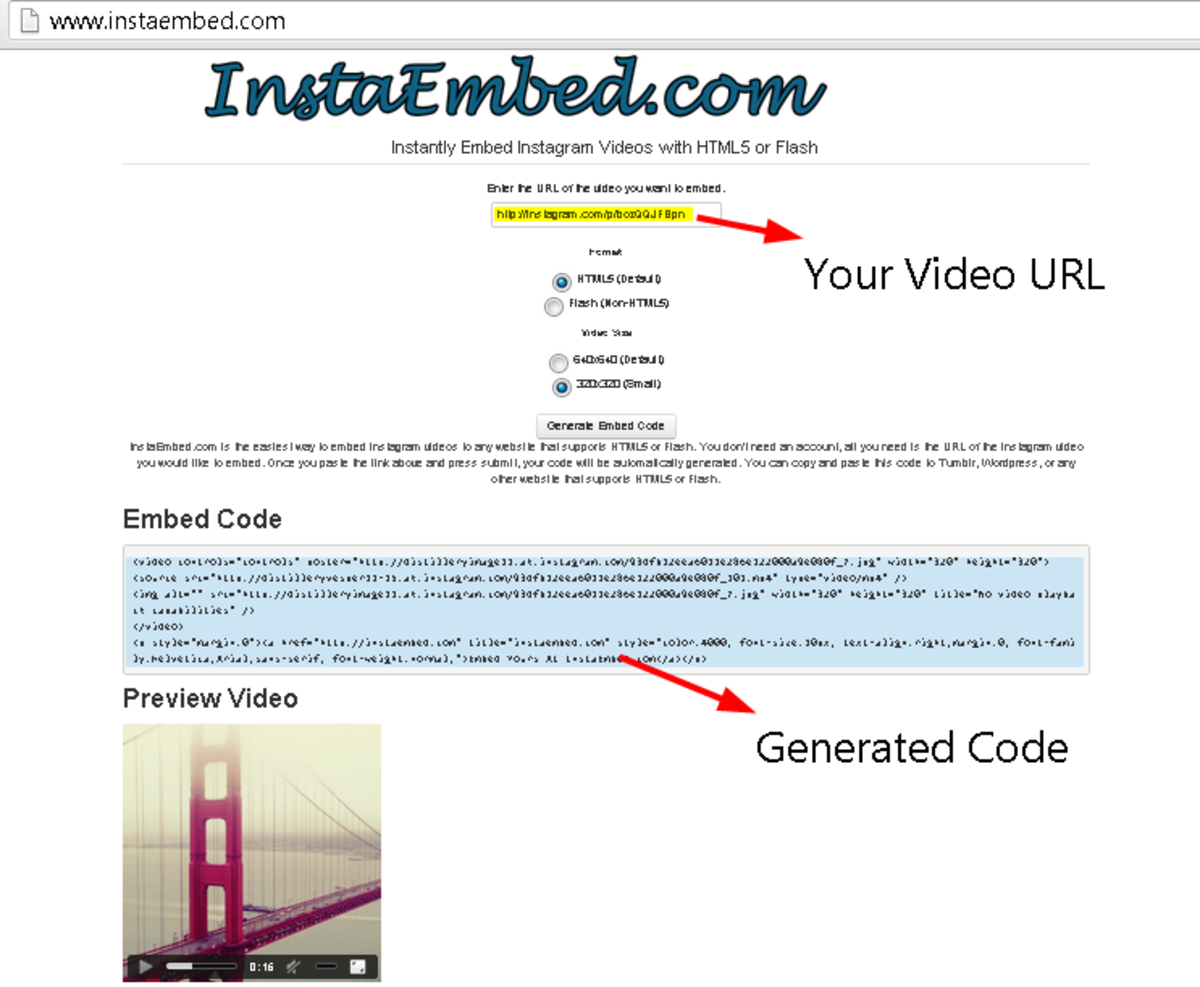 Visit Instaembed.com to generate your Instagram video embed code