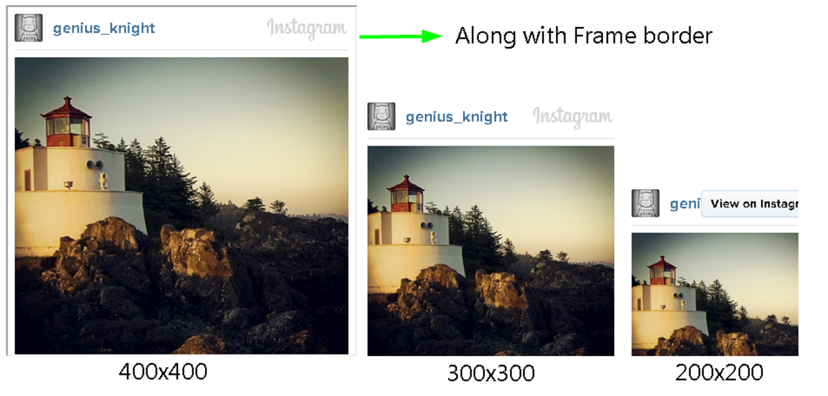 Various configured Instagram photo embed codes