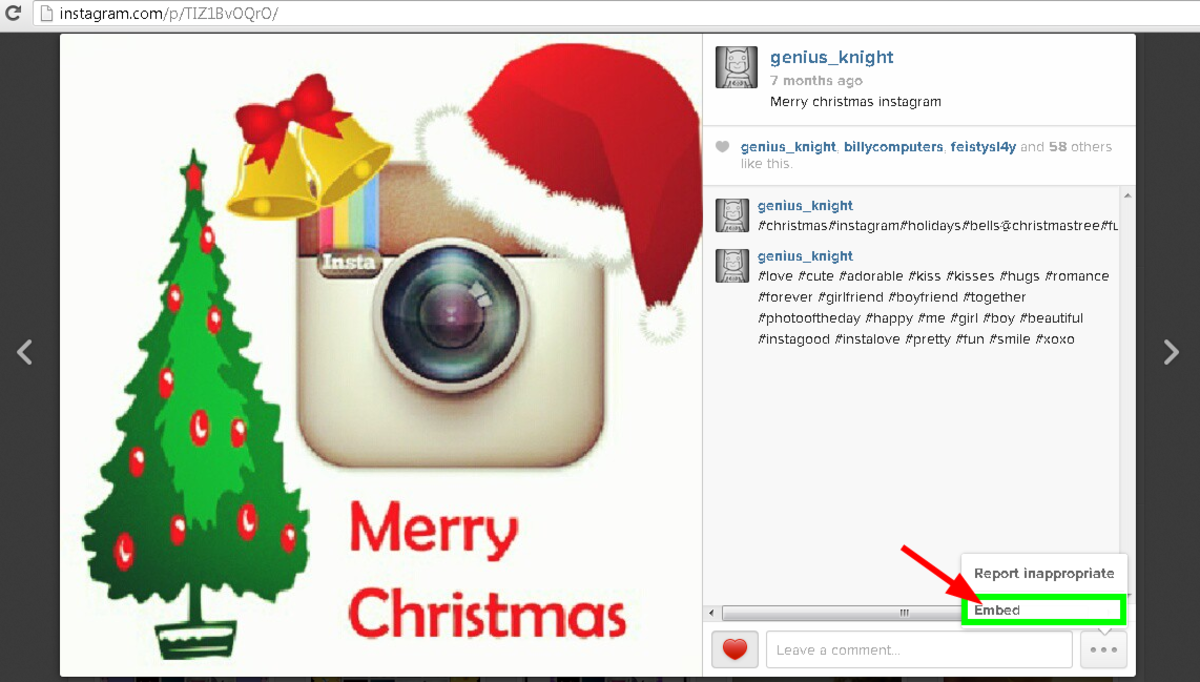 Click embed to get generate the Instagram embed code
