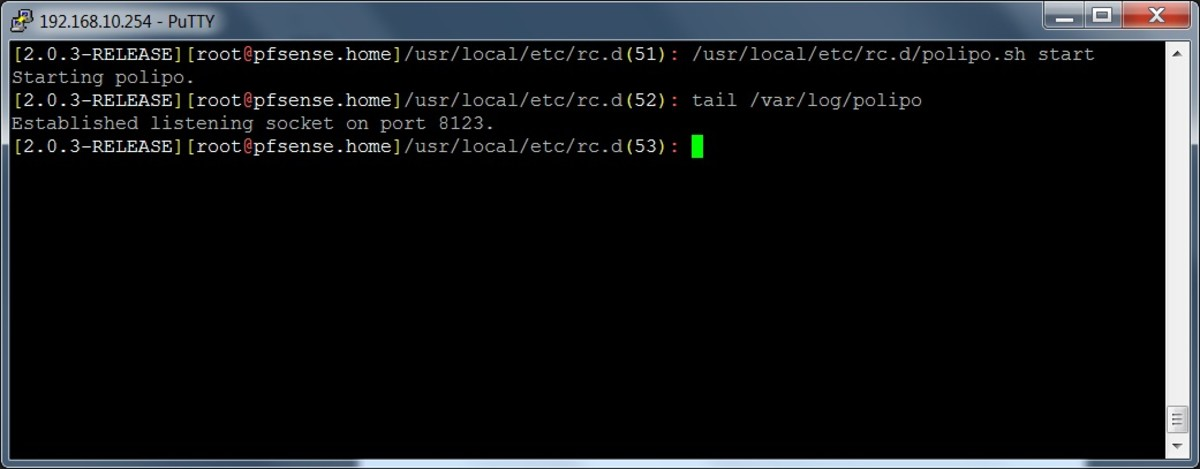 Starting the Polipo web proxy server using the SSH shell.