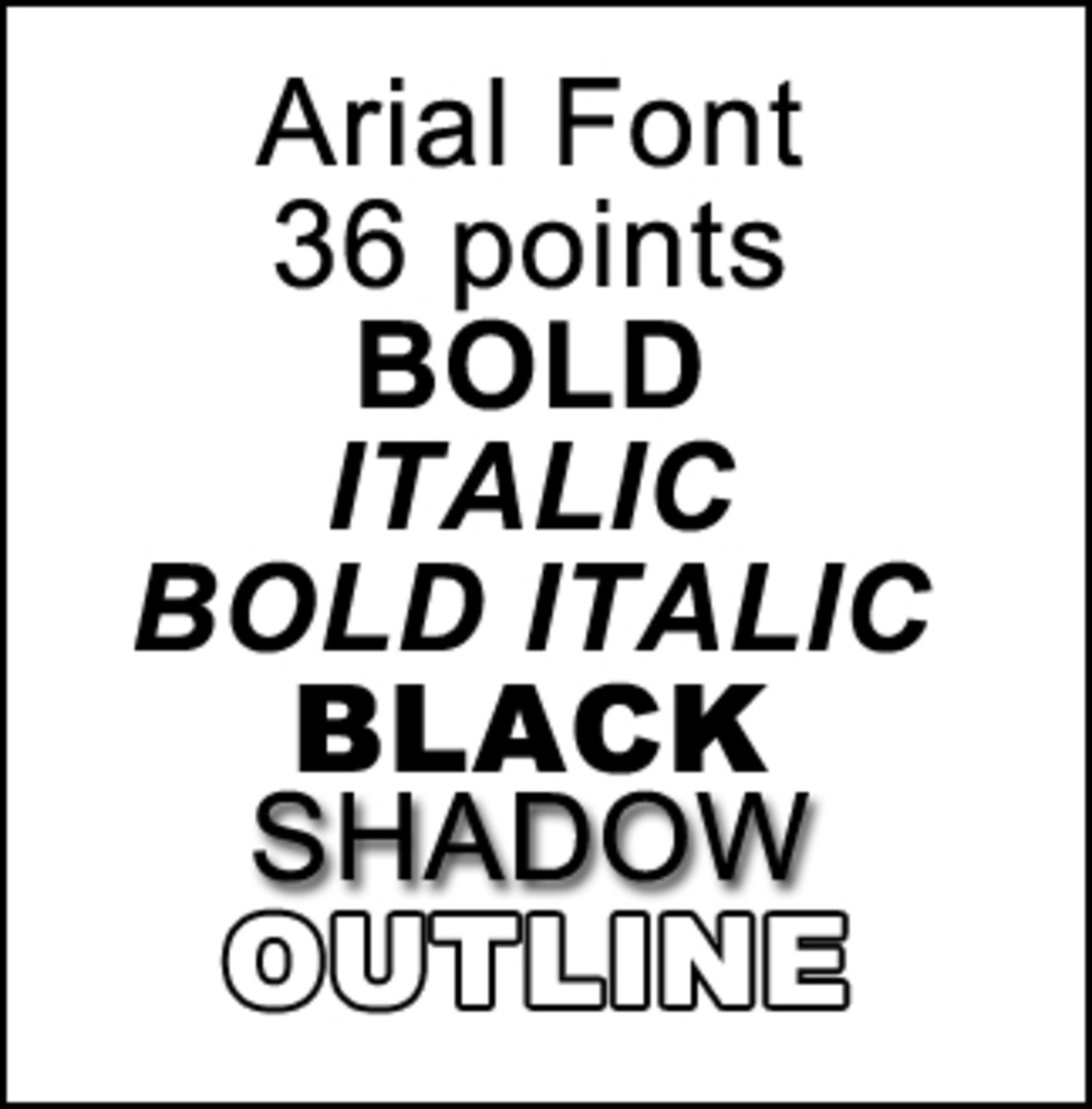 Note: Arial does not come with a shadow or outline style, I made these with filters in Photoshop for examples.