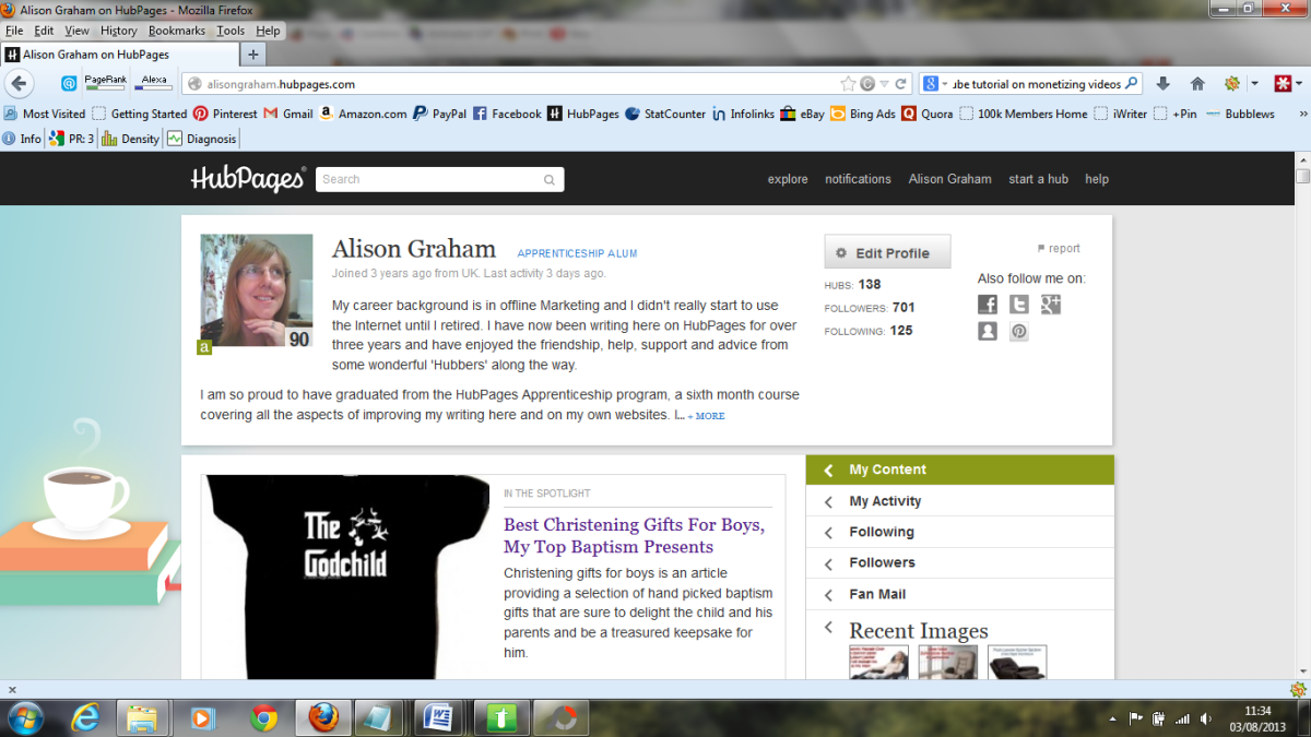 This is the image on my screen that I wanted to capture, my HubPages profile page